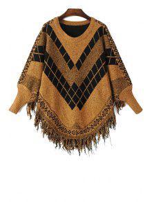 Long Sleeves Argyle Pattern Sweater - Brown