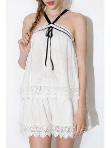 Pure Color Lace Shorts - White S