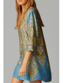 Ethnic Print V Neck 3/4 Sleeve Dress - S