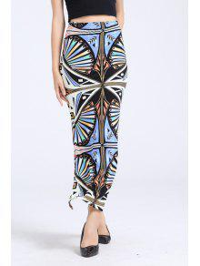 Buy Abstract Print Side Slit Long Skirt - COLORMIX ONE SIZE(FIT SIZE XS TO M)