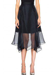 Solid Color Chiffon Splicing Skirt - Black