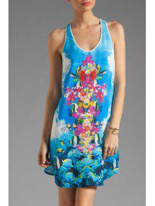 Fish Print Scoop Neck Sundress - Water Blue M