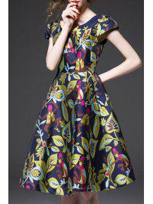 Short Sleeve Colorful Jacquard Prom Dress - Blue S