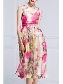 Sleeveless Nipped Waist Floral Print Dress - Xl