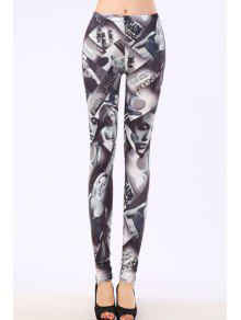 Bodycon Sexy Figure Pattern Leggings - Gray