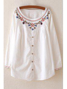 Embroidery Embellished Flare Dress - White