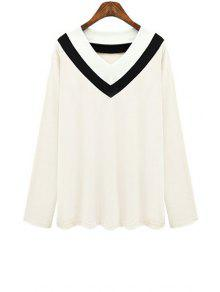 V Neck Color Block Stripe T-Shirt - White 5xl