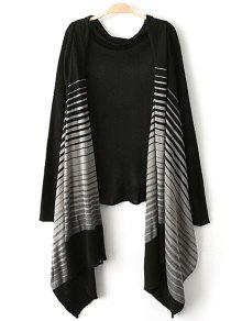 Open Front Striped Asymmetric Cardigan - Black S