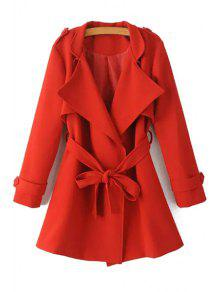 Turn-Down Collar Belt Pure Color Trench Coat - Red S