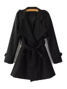 Turn-Down Collar Belt Pure Color Trench Coat - Black L