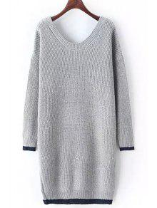 Buy Scoop Neck Color Block Long Sleeves Sweater - GRAY ONE SIZE(FIT SIZE XS TO M)