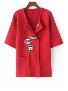 Turn-Down Collar Applique Embellished Cardigan - Red