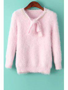 Solid Color Self Tie Long Sleeve Pullover Sweater - Pink
