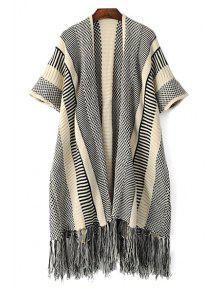 Open Front Short Sleeve Tassels Cardigan - Gray