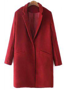 Lapel Solid Color Pocket Trench Coat - Red L