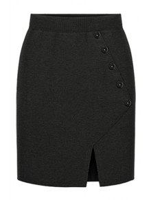 Buy Side Slit Knitted Midi Skirt - BLACK ONE SIZE(FIT SIZE XS TO M)