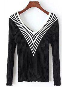 Stripes Spliced V Neck Long Sleeve Jumper - Black