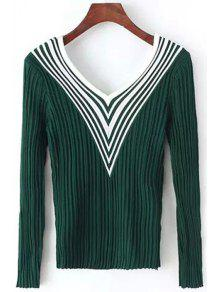 Stripes Spliced V Neck Long Sleeve Jumper - Green