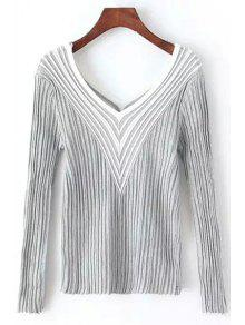 Stripes Spliced V Neck Long Sleeve Jumper - Gray