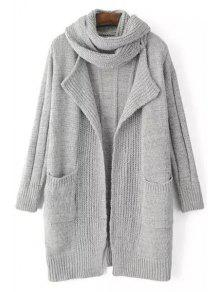 Solid Color Stripe Long Sleeve Cardigan + Scarf - Light Gray