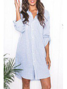 Blue Stripes Turn Down Collar Long Sleeve Shirt - Azure L