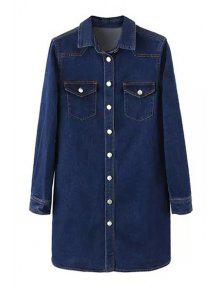 Deep Blue Denim Turn Collar Long Sleeve Dress - DEEP BLUE L