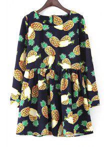 Buy Long Sleeve Pineapple Print Dress - BLUE M