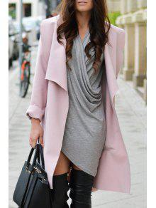 Solid Color Turn-Down Collar Trench Coat - Pink L