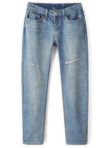 Buy Bleach Wash Broken Hole Pencil Jeans - LIGHT BLUE S