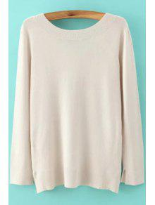 Long Sleeve Low Back Sweater - Off-white S