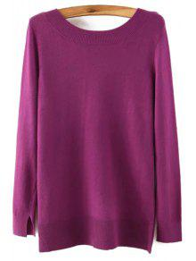 Long Sleeve Low Back Sweater - Purple L