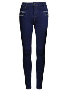 Buy Pure Color High Waisted Zipper Jeans - PURPLISH BLUE 40
