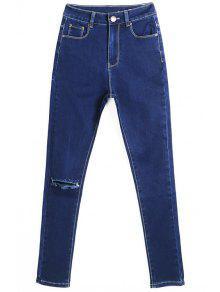 Buy Hole High Waisted Skinny Jeans - DEEP BLUE 36