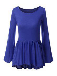 Bell Sleeve Solid Color Peplum T-Shirt - Deep Blue M