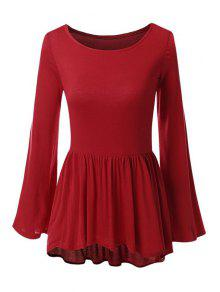 Bell Sleeve Solid Color Peplum T-Shirt - Red Xl