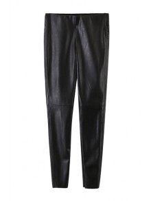 Narrow Feet Faux Leather Black Pants - Black L