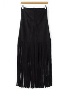 Buy Tassels Spliced High Waisted Skirt - BLACK L