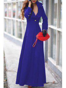 Lapel One Button Faux Wool Coat - Blue Xl