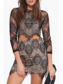 Buy Lace Round Neck 3/4 Sleeve Crop Top - BLACK 2XL