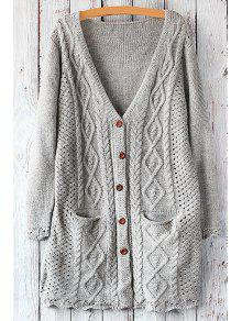 Cable Knit Single-Breasted Cardigan - Light Gray