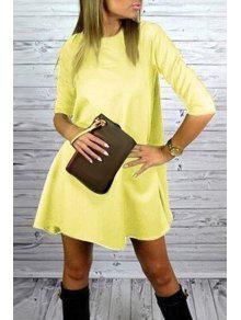 Yellow Round Neck Half Sleeve Dress - Yellow Xl