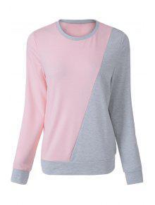 Pink Grey Splicing Long Sleeve Sweatshirt - Pink 2xl