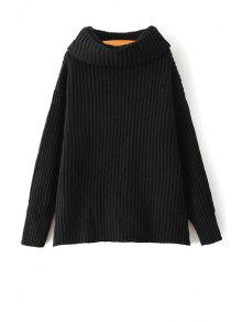 Suéter De Encaje Suelto De La Correa De La Tortuga Suéter Del Color Sólido - Negro