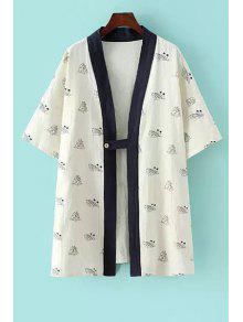 Ship Print Half Sleeve Kimono - White