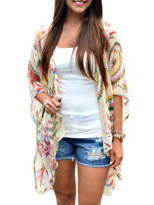 Print Chiffon Half Sleeve Kimono - Xl
