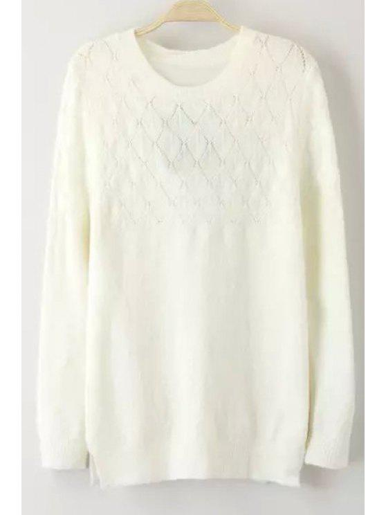 shop Openwork White Round Collar Long Sleeves Pullover Sweater - WHITE S