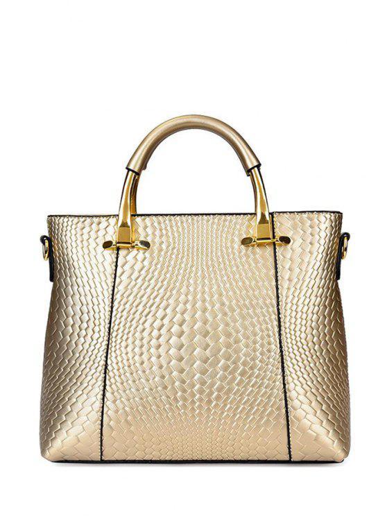 buy Woven Pattern Embossing Metal Tote Bag - GOLDEN