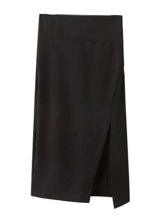 outfits Side Slit Stylish Solid Color Women's Skirt - BLACK L