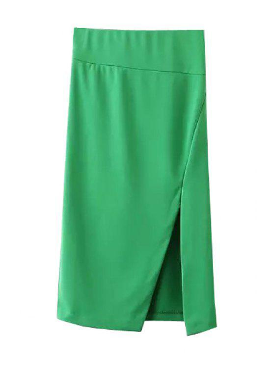 shops Side Slit Stylish Solid Color Women's Skirt - GREEN S