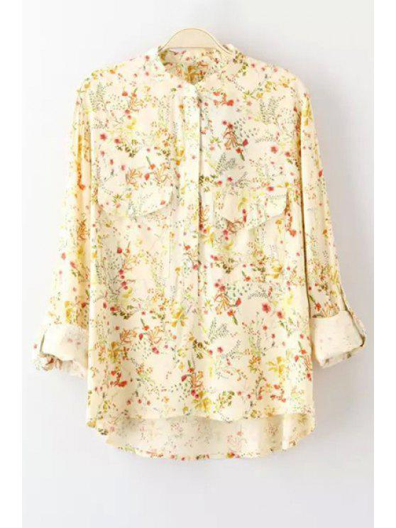 outfits Tiny Floral Print Stand Collar Long Sleeves Blouse - AS THE PICTURE S